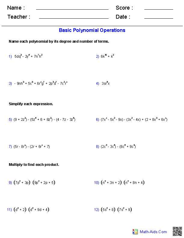 Factoring Special Cases Worksheet with Polynomial Functions Worksheets Algebra 2 Worksheets