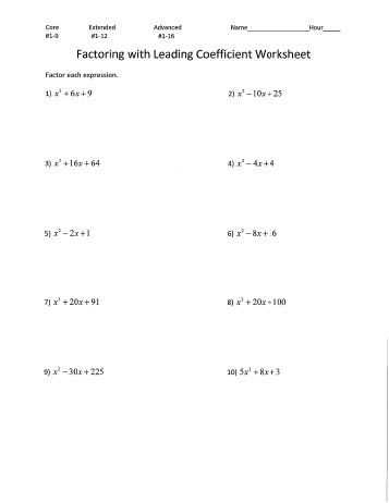 Factoring Trinomials with Leading Coefficient Worksheet Along with Printables Factoring Trinomials Worksheet Answers Freegamesfriv