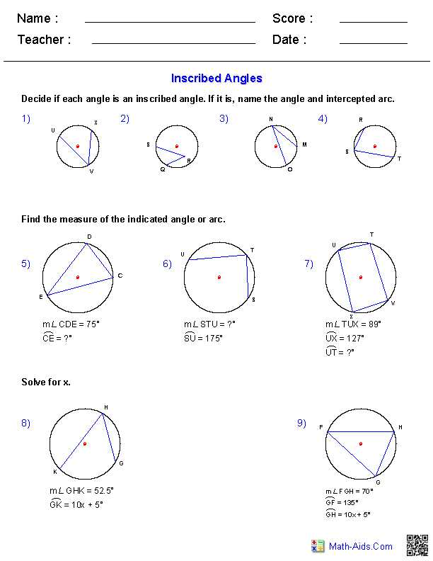 Find the Missing Angle Measure Worksheet Also Angles In Circles Worksheet Worksheets for All