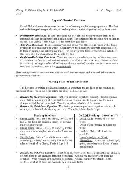 Five Types Of Chemical Reaction Worksheet and Types Of Chemical Reactions Worksheet Lesson Planet