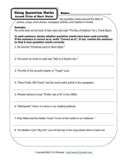 Fix the Sentence Worksheets Also Quotation Marks