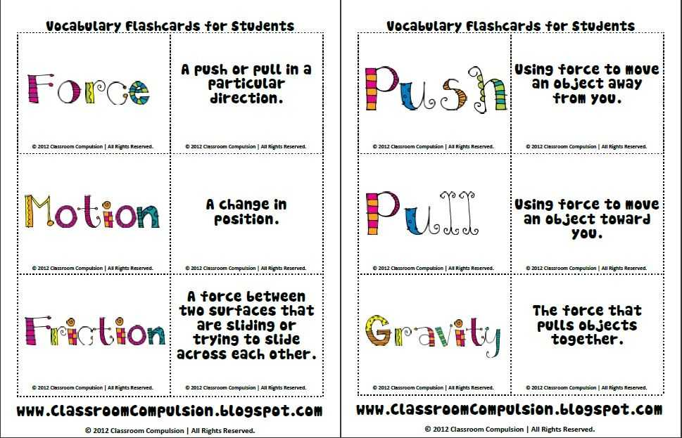 Forces and Friction Practice Worksheet Answer Key and force and Motion Vocab Cards Science Pinterest