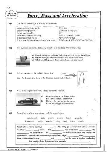 Forces and Friction Practice Worksheet Answer Key as Well as force Mass and Acceleration 358—507 Projects to Try