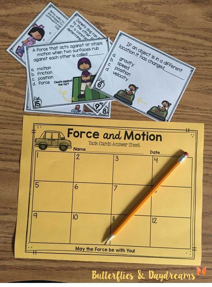 Forces and Friction Practice Worksheet Answer Key with force and Motion Task Cards