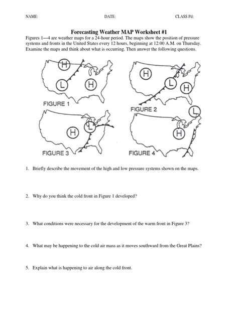 Forecasting Weather Map Worksheet 1 Answers Also Worksheets Wallpapers 50 Inspirational forecasting Weather Map