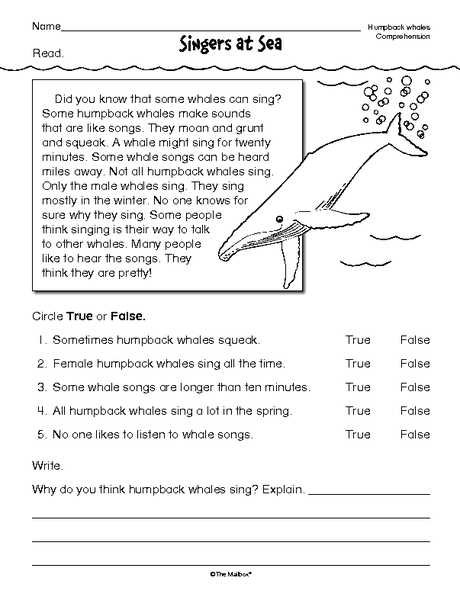 Free 2nd Grade Reading Comprehension Worksheets Multiple Choice with Reading Prehension Worksheet Nonfiction Whales Reading Word Free