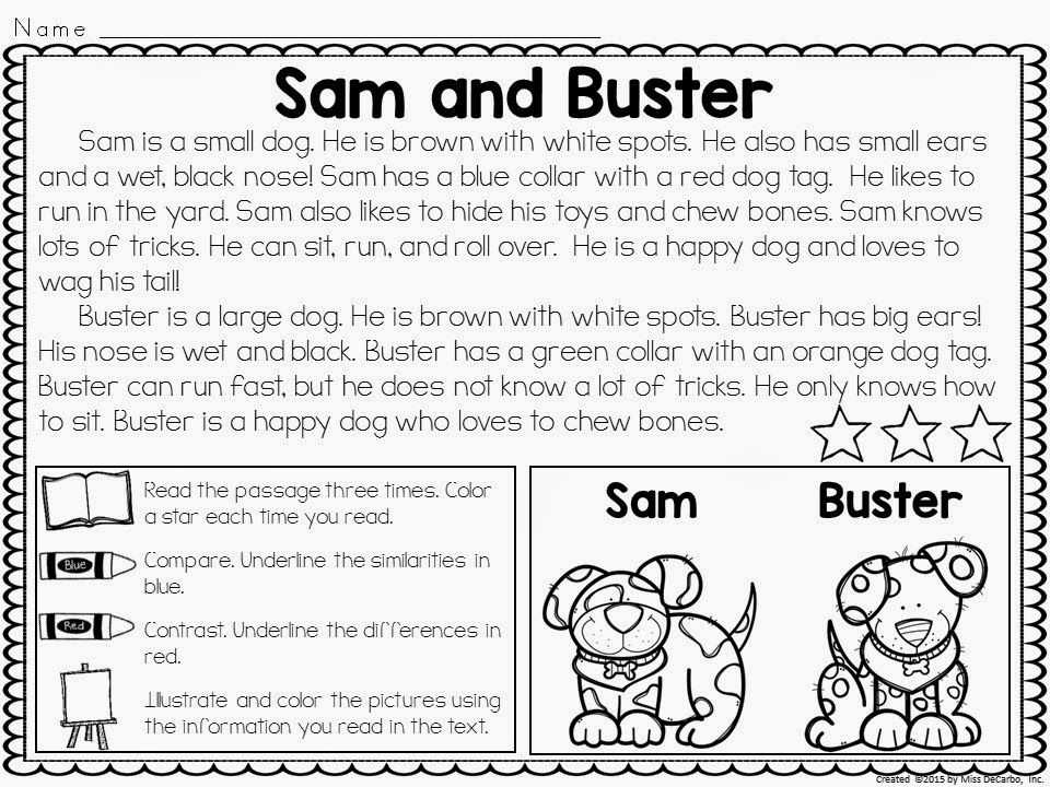 Free Compare and Contrast Worksheets for Kindergarten together with Pare and Contrast Passages for Reading
