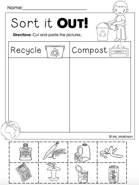 Free Cutting Worksheets Along with Free Earth Day Printables Recycling and Post Cut and Paste