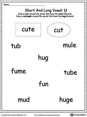 Free Cutting Worksheets Along with Vowels Short or Long U sound Words