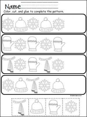 Free Cutting Worksheets with Winter Pattern Practice Cut and Paste
