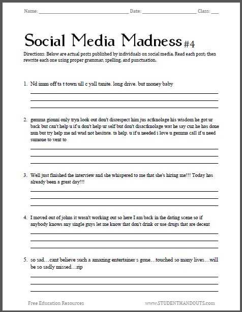 Free Printable Main Idea Worksheets with Junior High Grammar Worksheets Worksheets for All