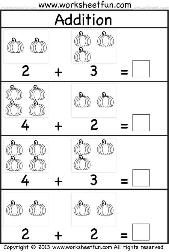 Free Printable Math Addition Worksheets for Kindergarten and Kids Practice Adding Single Digit Numbers and Writing the Sums On
