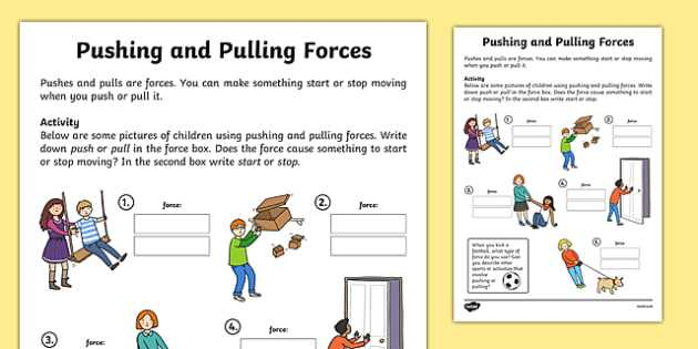 Friction Worksheet Answers Along with Pushing and Pulling forces Worksheet Push and Pull Pushing