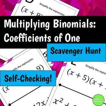 Fun Algebra Worksheets Also Multiplying Binomials Foil Scavenger Hunt Activity