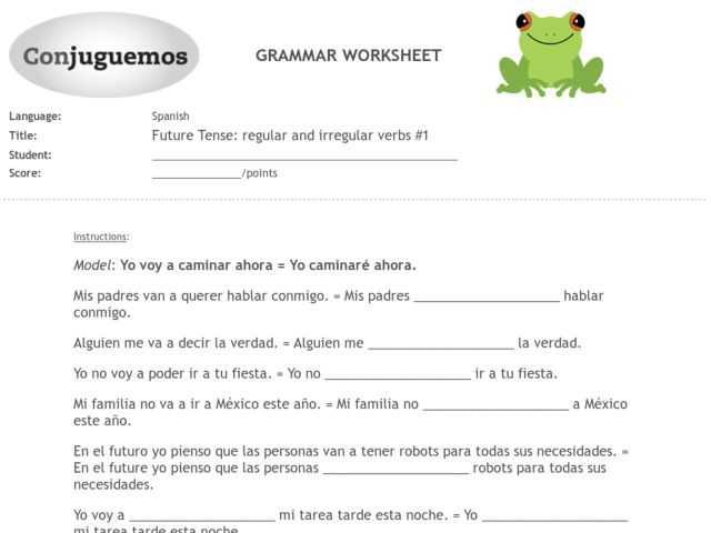 Future Tense Spanish Worksheet and Irregular Verbs Worksheet 10th Grade
