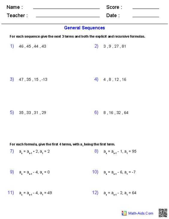 General Sequences Worksheet Answers Also Math Sequencing Worksheets Number Patterns Sequencing Patterns and