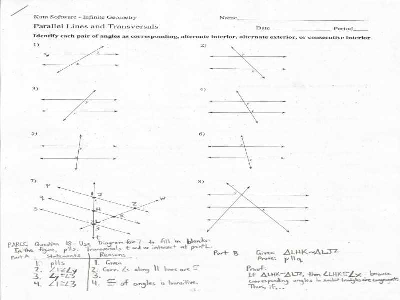 Geometry Parallel Lines and Transversals Worksheet Answers Also Geometry Parallel Lines and Transversals Worksheet Answers