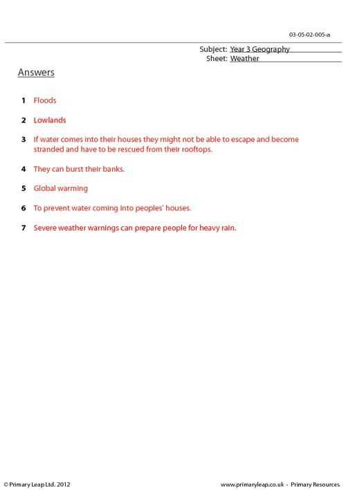 Global Warming Worksheet or Primaryleap Extreme Weather Conditions Floods Worksheet