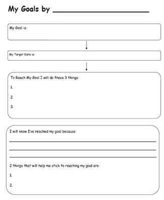 Goal Setting Worksheet for Students Also Printable Worksheets for Back to School Goal Setting