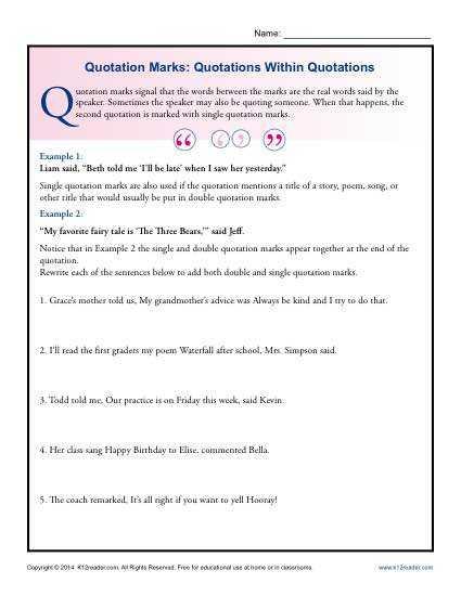 Grammar Complements Worksheet Also Best Grammar Worksheets Elegant Quotation Marks Quotations within