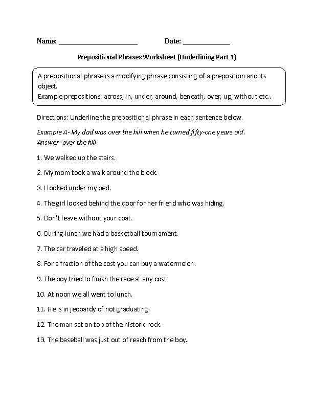 Grammar Complements Worksheet or Underlining Prepositional Phrase Worksheet Also Many Other Grammar