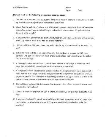 Half Life Practice Worksheet as Well as Nuclear Reactions and Half Life Worksheet Plymouth State