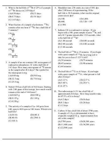 Half Life Practice Worksheet with Half