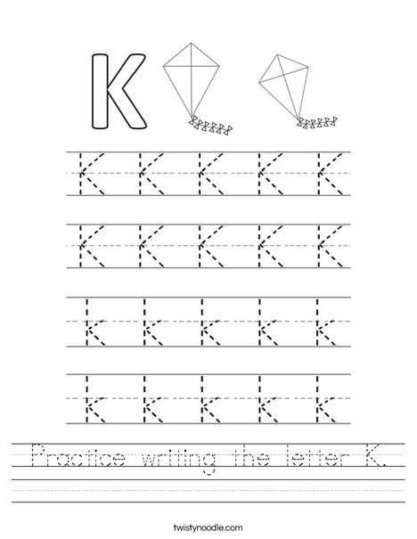 Handwriting Worksheets for Kindergarten Along with Practice Writing the Letter K Worksheet Twisty Noodle