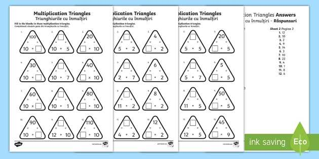 Health Triangle Worksheet or Multiplication Triangles 2 to 12 Times Tables Worksheet