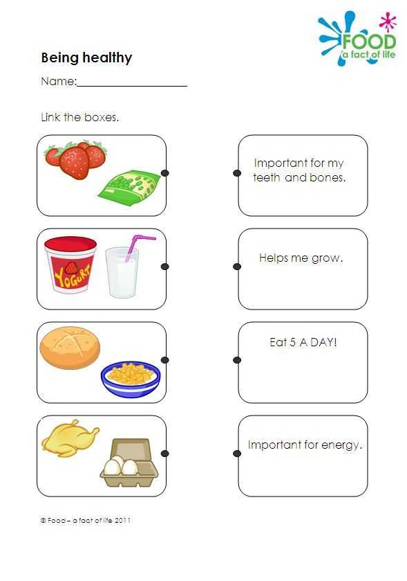 Healthy Eating Worksheets and Healthy Eating Teaching Resource Worksheet which Link Types Of Food