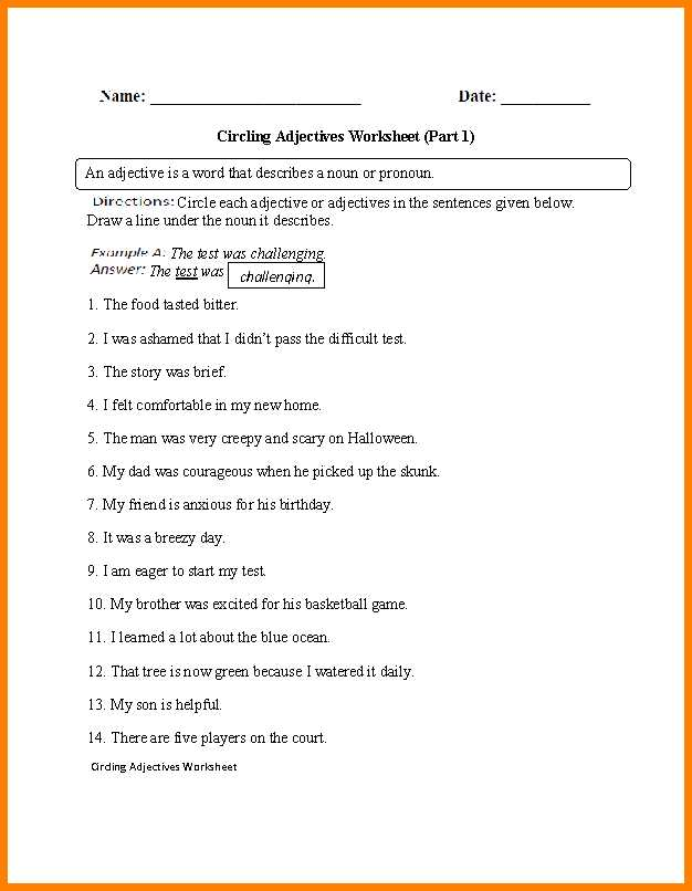 Identifying Adjectives Worksheet Also Worksheet Identifying Adjectives Kidz Activities
