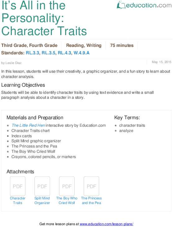 Identifying Character Traits Worksheet and Identifying Character Traits Lesson Plan