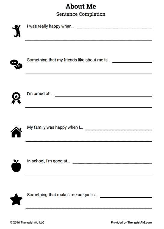 Improving Self Esteem Worksheets together with About Me Self Esteem Sentence Pletion Preview …