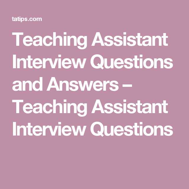 Interview Worksheet for Students with Teaching assistant Interview Questions and Answers – Teaching
