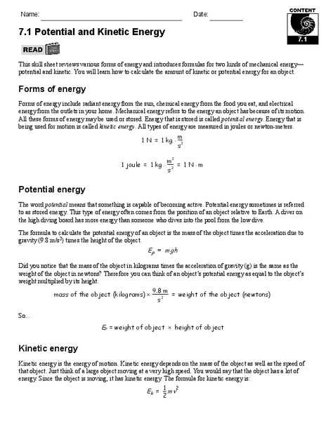 Introduction to Energy Worksheet Answers Along with Energy Worksheet 7th Grade Kidz Activities