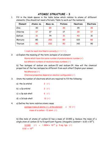 Isotopes or Different Elements Chapter 4 Worksheet Answers or atomic Structure Worksheet Answers