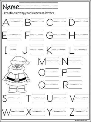 Kindergarten Alphabet Worksheets and Santa Capital Letter Writing Practice
