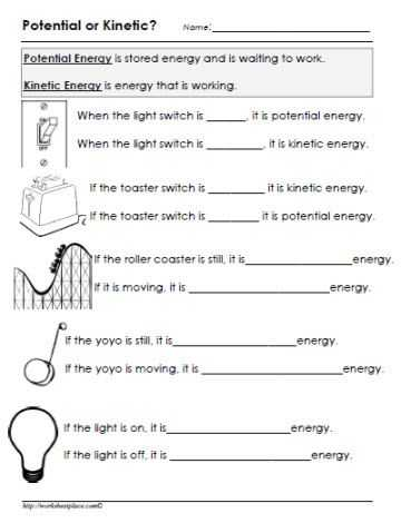 Kinetic and Potential Energy Problems Worksheet Answers or Potential or Kinetic Energy Worksheet Gr8 Pinterest