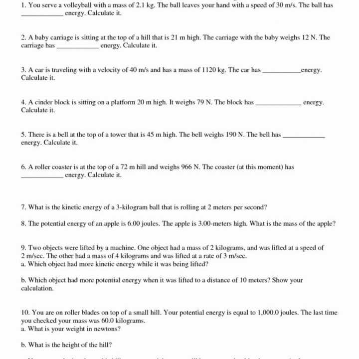 Kinetic and Potential Energy Worksheet together with Kinetic Energy Math Worksheet Kidz Activities