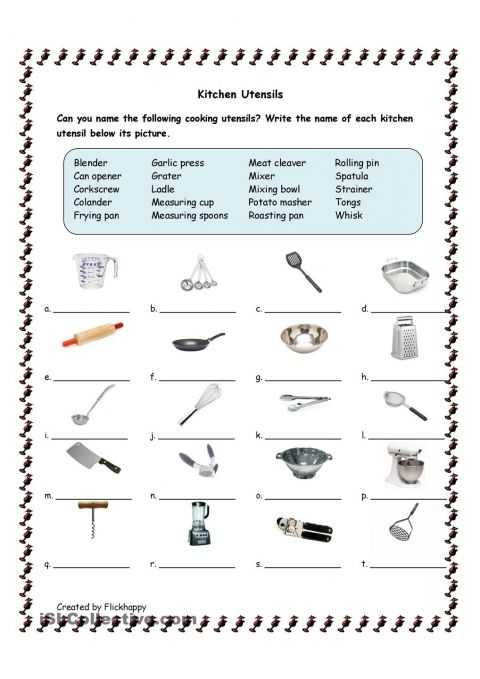 Kitchen tools Worksheet Also Utensils Helena S Cupcake Wars themed Birthday Party