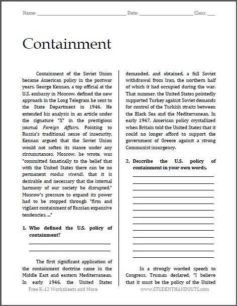 Korean War Worksheet as Well as Containment Cold War Reading with Questions