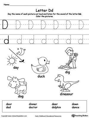 Letter D Preschool Worksheets and Words Starting with Letter D