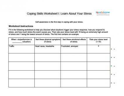 Life Skills Worksheets for Adults Along with Unit Title Stress Management