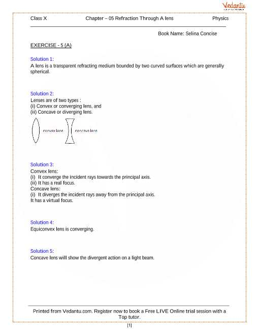 Light Refraction and Lenses Physics Classroom Worksheet Answers Also Refraction Through A Lens solutions for Icse Board Class 10 Physics