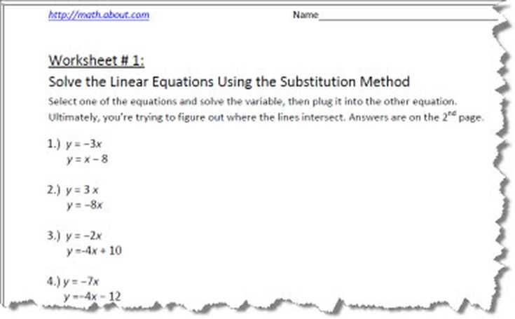 Linear Quadratic Systems Worksheet or Systems Of Equations by Substitution Worksheets