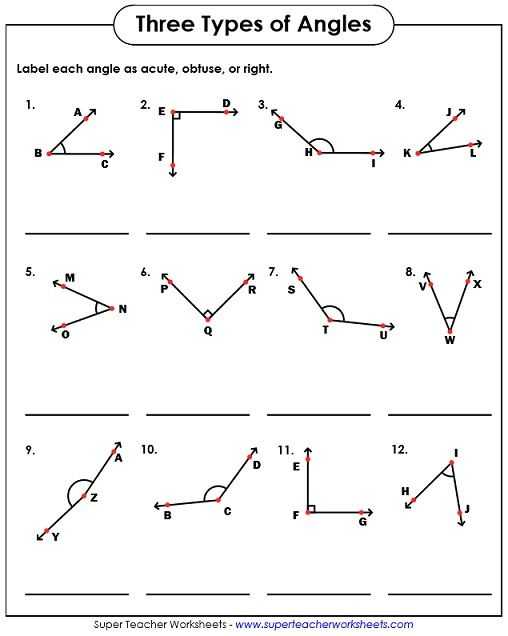 Lines and Angles Worksheet together with Types Of Angles Acute Obtuse Right Worksheets