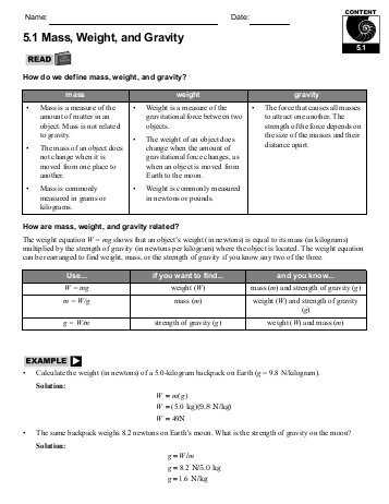 Mass and Weight Worksheet Answer Key as Well as 5 1 Mass Weight and Gravity Home Link