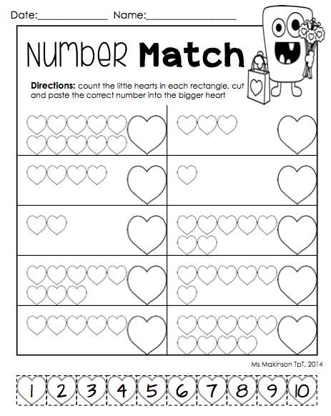 Matching Numbers Worksheets Also February Printables Kindergarten Literacy and Math