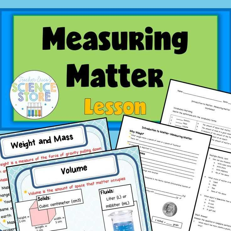 Matter and Energy Worksheet with Introduction to Matter Measuring Matter Powerpoint and Notes