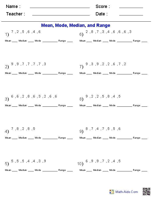 Mean Median Mode Range Worksheets with Answers Along with Math Aids Variety Of Custom Worksheets Generated
